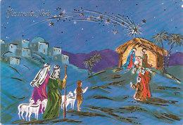 Carte Postale Moderne De Noël - Heureux Noël - Crêche - Roi Mage - épiphanie - Weihnachten
