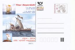 Tschech. Rep. / Ganzsachen (Pre2014/42) Thor Heyerdahl (1914-2002) Norwegischer Abenteurer Und Ethnograph, ... - Fotografía