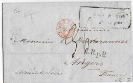 LETTONIE - 1847 - LETTRE De RIGA Avec CACHET D' ENTREE TOUR ET TAXIS Par VALENCIENNES => ANGERS - RARE - Poststempel (Briefe)