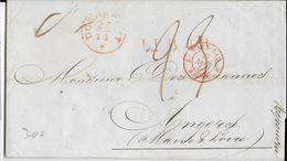 NEDERLAND - 1850 - LETTRE De DORDRECHT Avec CACHET D' ENTREE PAYS-BAS Par VALENCIENNES => ANGERS (MAINE ET LOIRE) - Poststempel (Briefe)