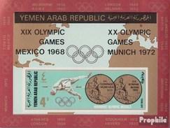 Nordjemen (Arabische Rep.) Block78 (kompl.Ausg.) Postfrisch 1968 Goldmedaillen Sommerolympiade - Yemen