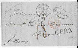 DANEMARK - 1846 - LETTRE De ELSENEUR (HELSINGOR) Avec CACHET D' ENTREE PRUSSE Par GIVET => ANGERS Via MINDEN - Danimarca