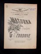 Musica Spartiti - 6 Ottobre 1878 - Mazurka Per Pianoforte - Giovanni Cordone - Old Paper