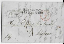 DANEMARK - 1847 - LETTRE De ELSENEUR CACHET D' ENTREE TOUR ET TAXIS Par VALENCIENNES + DANEMARCK Par HAMBOURG => ANGERS - Poststempel (Briefe)