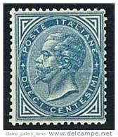 ITALIA REGNO ANNO 1877  - N° 27 - 10 C. AZZURRO   VITTORIO EM. II° - ** MNH NUOVO GOMMA INTEGRA - CERTIFICATO ENZO DIENA - Nuovi