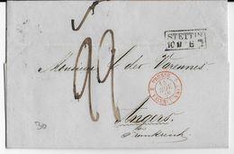 PRUSSE - 1849 - LETTRE De STETTIN Avec CACHET D' ENTREE PRUSSE Par VALENCIENNES => ANGERS - Poststempel (Briefe)