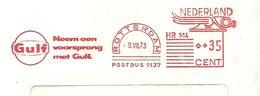NL Front Firmacover AGulf Oil Nice Cut Meter, Neem Een Voorsprong Met Gulf, Rotterdam 9/7/1973 - Aardolie