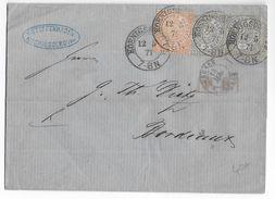PRUSSE ORIENTALE (RUSSIE AUJOURD'HUI) - 1871 - LETTRE De KÖNIGSBERG Avec CACHET D' ENTREE PRUSSE Par LILLE => BORDEAUX - Poststempel (Briefe)