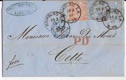 ALLEMAGNE DU NORD - 1869 - LETTRE De HAMBURG Avec CACHET D' ENTREE TOUR ET TAXIS Par ERQUELINES => CETTE (HERAULT) - Storia Postale