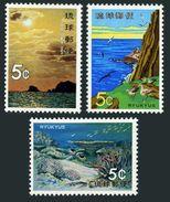 RyuKyu 224-226,lightly Hinged.Mi 253-255. Nature 1972.Birds On Seashore, Sun,Coral Reef. - Birds
