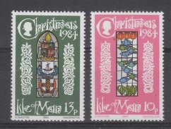 PAIRE NEUVE DE L'ILE DE MAN - VITRAUX (NOËL 1984) N° Y&T 260/261 - Verres & Vitraux
