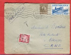1939 Timbre Taxe Pour Recouvrement Courrier Par Avion En Poste Restante Tunisie à Alençon Scans Recto Verso - Marcofilia (sobres)
