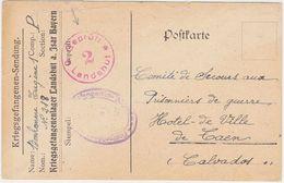 FRANCE GERMANY 1918 (21.2.) P.O.W. PC CAMP LANDSHUT (Isar) TO CAEN - Francia