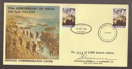 75th Anniversary ANZAC Australia Military Limited Edition Commemorative Army Museum Cover Plus A.F.P.O.7 + 4 Cancels - FDC