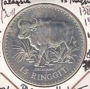 MALEISIE 15 RINGGIT 1976 SILVER FDC WWF MALAYSIAN GAUR - Malaysie