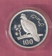 PAKISTAN 100 RUPEES 1976 SILVER PROOF WWF PHEASANT BIRD - Pakistan