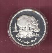 SOEDAN 5 POUNDS 1976 SILVER PROOF WWF HIPPOPOTAMUS NIJLPAARD - Soudan