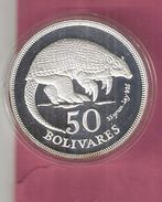 VENEZUELA 50 BOLIVARS1975 SILVER PROOF WWF ARMADILLO - Venezuela