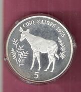 ZAIRE 5 ZAIRES 1975 SILVER PROOF WWF OKAPI SPOTS ON CAPSEL - Zaire (1971-97)