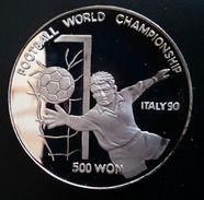 "NORTH KOREA 500 WON 1989 SILVER PROOF ""World Championship Soccer 1990""  Free Shipping Via Registered Air Mail - Korea, North"