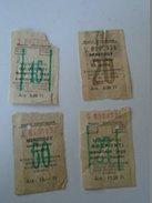 J2050.11 Old  Train  - Railway  Tickets  Hungary   (4 Pcs)    1950's - Transportation Tickets