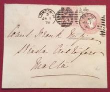 LONDON 1878 BUSTA POSTALE ONE PENNY CON AGGIUNTA PER MALTA  BB - 1840-1901 (Regina Victoria)