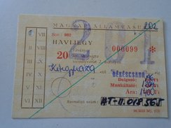 J2050.12 Old  Train  - Railway (monthly) Ticket  Hungary - Europe