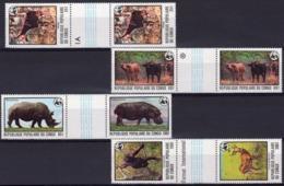 Congo Brazaville 1978, WWF, Hippo, Rhino, Monkey, 6val Gutter Pairs - Rhinozerosse