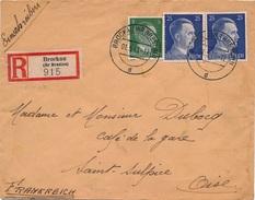 Lettre Recommandée Brockau (Kr Breslau) Double Censure WWII - Allemagne