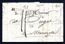 LETTRE PRECURSEUR FRANCE- MARQUE POSTALE- 61 MONTREUIL SUR MER- 1817  - TAXE 11 DECIMES - Postmark Collection (Covers)