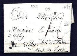 LETTRE PRECURSEUR FRANCE XVIII° S- MARQUE POSTALE- 70 MACON 1793  - TAXE  12 DECIMES- CIRE ROUGE AU VERSO - Poststempel (Briefe)