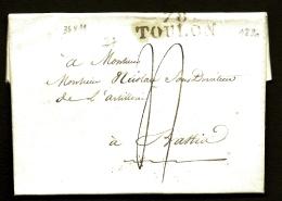 LETTRE PRECURSEUR FRANCE- MARQUE POSTALE- 78 TOULON- 1820  - TAXE 4 DECIMES- TAMPON CARRÉ AU VERSO- 2 SCANS - 1801-1848: Precursors XIX