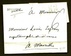 LETTRE PRECURSEUR FRANCE- MARQUE POSTALE DOUBLE CURSIVE- ANTIBES AU TAMPON + MANUSCRITE-1775-  TAXE 6 DECIMES - 1701-1800: Precursori XVIII