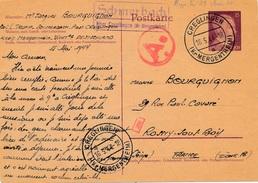 Entier Cachet Manuel Schmerbach Depart Creglingen Wurtemberg Censure WWII - Allemagne