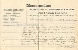 MEMORANDUM ETS DESTABLE FILS BEURRE OEUFS A CURMILHAC PRES LACHAUD - France