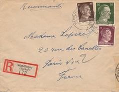 Lettre Recommandée Hitler Wendlingen (Neckar) Censure WWII - Allemagne