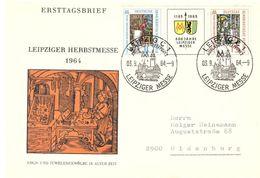 DDR Leipzig 1964 / FDC 3.9.64 Gelaufen In Die BRD / Michel 1052 - 1053 (Dreierstreifen)  (TP235) - DDR