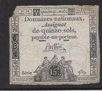 France Assignat De 15 Sols - Assignats