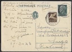 POSTA MILITARE - INTERO CENT 15 PER VIA AEREA DA PM 28 (TEBE-GRECIA) 17.03.1943 (p.1) PER LUGO (RA) - Posta Militare (PM)