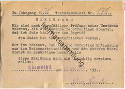 Wehrstammblatt 1939 - Chemnitz - Bescheinigung über Nicht-Jude - Historische Dokumente