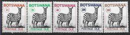 1977 BOTSWANA Taxe 21A-25** Animal, Zèbre - Botswana (1966-...)