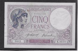 France 5 Francs Violet Type 1917 - 4-9-1918 - Trous Vermiculaires Sinon Neuf - 1871-1952 Anciens Francs Circulés Au XXème