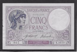 France 5 Francs Violet Type 1917 - 4-9-1918 - Trous Vermiculaires Sinon Neuf - 1871-1952 Antichi Franchi Circolanti Nel XX Secolo