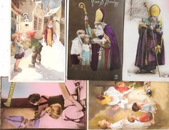 ST NICOLAS -5 Cartes Anciennes - Enfants, Jouets,quilles,polichinelle, Pantin, Ours En Peluche,dioramapuzzle,cadeaux - Saint-Nicolas