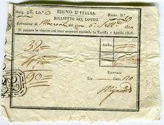 BIGLIETTO DEL LOTTO REGNO D'TALIA MACERATA ANNO 1811 - Biglietti Della Lotteria