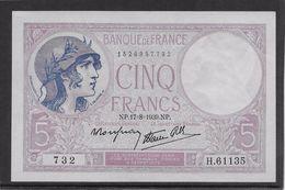 France 5 Francs Violet Type 1917 Modifié - 17-8-1939 - Fayette N° 4-6 - SPL - 1871-1952 Circulated During XXth