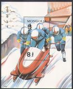 Mongolia 1992 Winter Olympic Games Albertville Two-man Bobsled Bob Sleigh Sports S/S Stamp MNH Mi 2361 BL182 - Skateboard