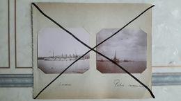 7 PHOTOS ANCIENNES ENCASTRÉES DANS 2 PAGES D'ALBUM - TOULON 83 VAR - LA RADE - NAVIRE DE GUERRE - BATEAUX - Bateaux