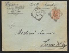 STORIA POSTALE REGNO - BUSTA INTESTATA FORMAGGI DA BRESCIA 03.06.1901 PER SOIANO DEL LAGO - 1878-00 Umberto I