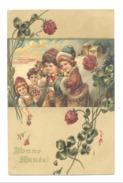 """Fantaisie """" BONNE ANNEE """" 1906 - Enfants, Trèfle, Carte En Relief (mc) Y232 - Anno Nuovo"""